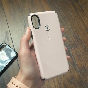 iPhone X pink and grey speck phone case
